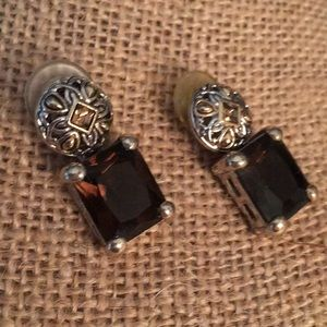 Gold/silver brown topaz square earrings